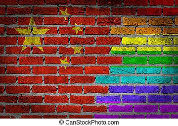 rechten, baksteen muur, -, lgbt, donker