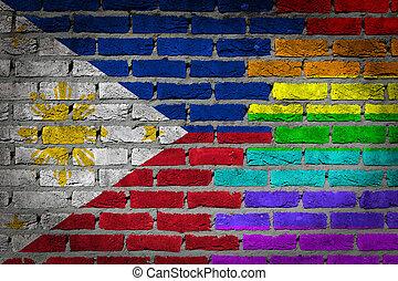 rechten, muur, filippijnen, -, donker, lgbt, baksteen