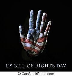 rechten, tekst, rekening, amerikaan, ons vlag, dag