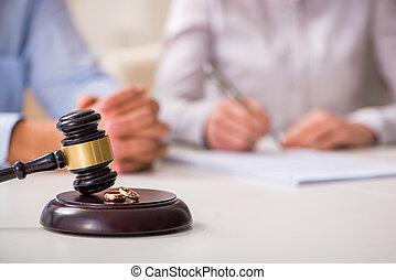 rechter, gavel, beslissen, op, huwelijk, scheiding