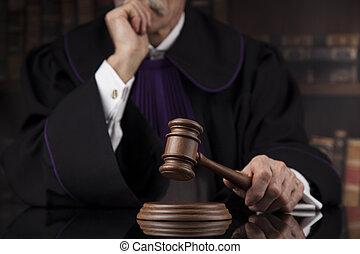 rechter, gavel, thema, versieren, slaghamer