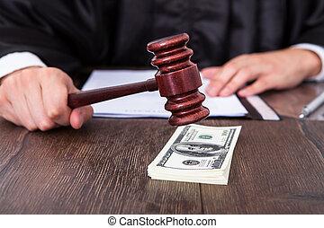 rechter, het slaan, dollar, slaghamer