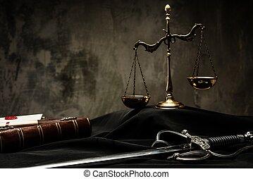 rechter, mantel, schalen, justitie, boek, zwaard