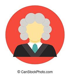 rechter, plat, avatar, pictogram