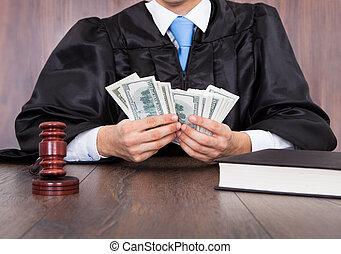 rechter, telling, geld