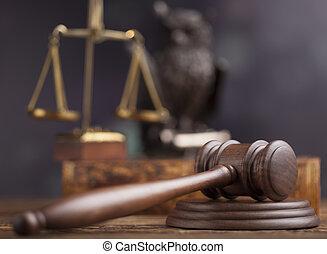 rechter, thema, gavel, slaghamer