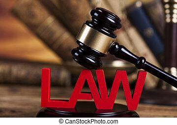rechter, wet, thema, achtergrond, houten bureau, slaghamer