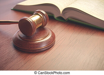 rechter, wetgeving, boek, hamer