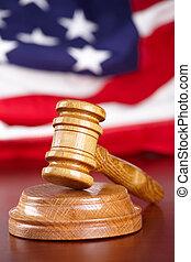 rechters, gavel, met, vlag