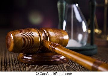 rechters, houten gavel, en, wet, schalen