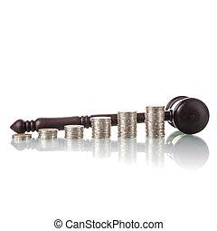 rechters, wet, gavel, met, muntjes