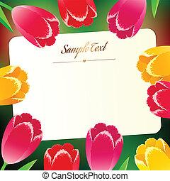 rechthoekig, kaart, lente, greating, mooi, bloemen, horizontaal