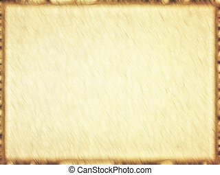 rechthoekig, lege, oud, papyrus, met, bruine , border.