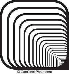 rechts, afgerond, tunnel, hoeken, hand, dons, perspectief, achtergrond, voorkant