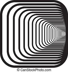 rechts, afgerond, tunnel, hoeken, hand, perspectief, ...