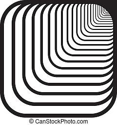 rechts, afgerond, tunnel, hoeken, op, hand, perspectief, achtergrond, voorkant