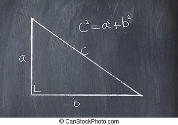 rechts, driehoek, met, pythagorean, formule, op, een, bord