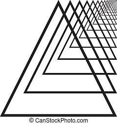 rechts, driehoek, tunnel, abstract, hand, perspectief