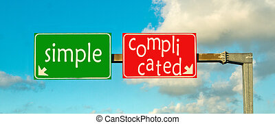 rechts, eenvoudig, path;, gecompliceerd, kiezen, of