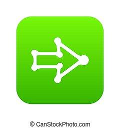 rechts, groene, richtingwijzer, dik, omtrek, pictogram