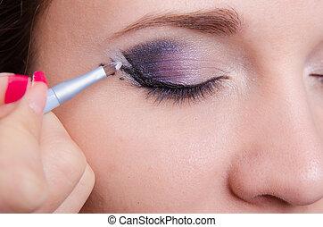 rechts, oog, kunstenaar, makeup, pijl, verlekkeert, meisje