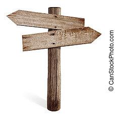 rechts, oud, houten, pijl, vrijstaand, meldingsbord, straat,...
