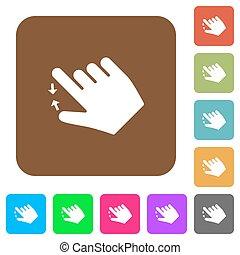rechts, plat, gebaar, knijpen, iconen, plein, afsluiten, overhandigde, afgerond