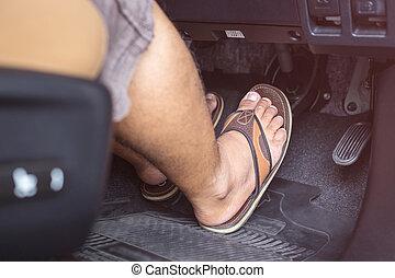 rechts, rem, auto, moderne, draai mislukking om, stap, schoen, voet