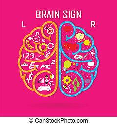 rechts, symbool, hersenen, symbool, meldingsbord, links, opleiding, pictogram