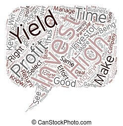 rechts, tekst, opbrengst, hoog, hoe, wordcloud, concept, achtergrond, investering, selekteer