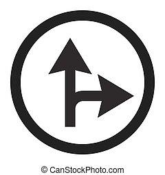 rechts, vooruit, of, lijn, meldingsbord, compulsory, ...