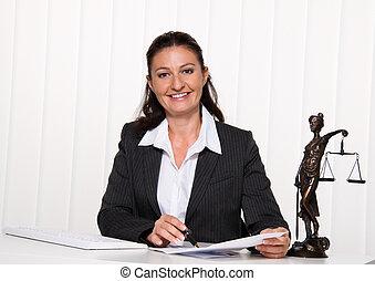 rechtsanwalt, in, der, büro., fürsprecher, für, r, der, law.