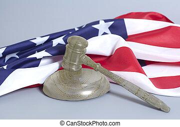 rechtsprechung, richterhammer, mit, amerikanische markierung