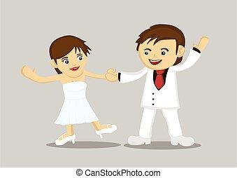 recién casado, feliz, bailando, juntos., pareja