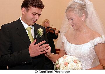 recién casado, pareja, en, día boda