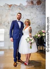 recién casado, pareja, postura, derecho, después, su,...