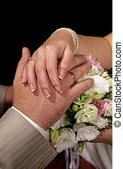 recién casados, manos