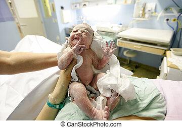 recién nacido, cubierto, vernix, entrega, después