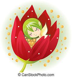 recién nacido, hada, flor