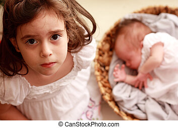 recién nacido, niña, hermana, ella