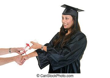 recibir, diploma6, graduado