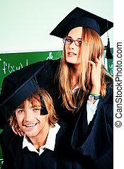 recibir, un, diploma