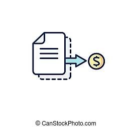recibo, coin:, illustration., negócio, payment., vetorial, fatura, icon., documento