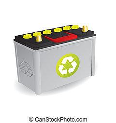 reciclable, batería del carro, señal