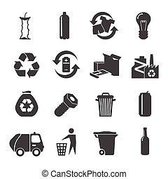 reciclable, materiales, conjunto, iconos