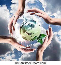 reciclado, elementos, en, el, manos