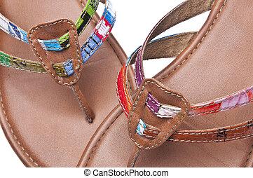 reciclado, sandalias, plano de fondo