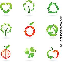 reciclagem, ícones