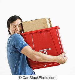 reciclagem, bin., abraçando, homem