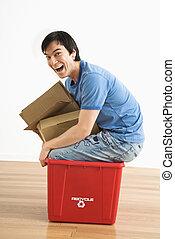 reciclagem, bin., homem